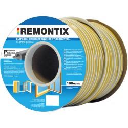 Уплотнитель REMONTIX промышленный D-профиль 50 м (21 мм х 15 мм) п/м чёрный